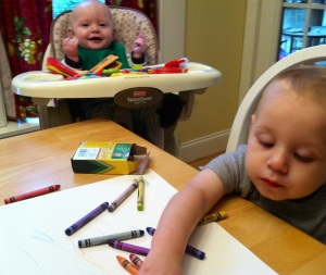 Sawyer and Lincoln (mostly Sawyer) coloring